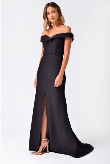 Autumn Off Shoulder Maxi Dress in Black