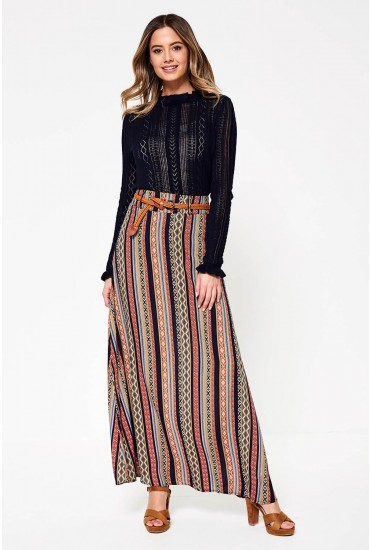 Sheyla Aztec Print Maxi Skirt