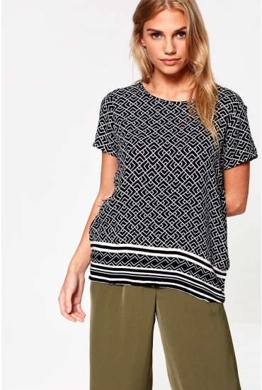 Jackie Aztec Print Top in Black