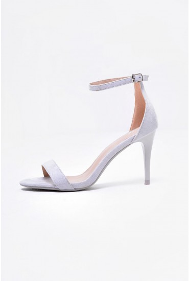 Lori Ankle Strap Sandals in Grey