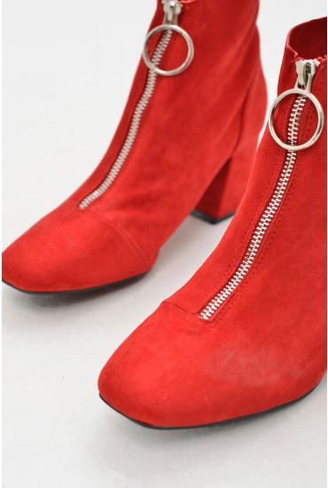 Sam Ankle Boots with Zip Front in Red