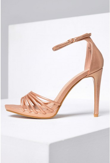 Lorna Platform Sandals in Rose Gold