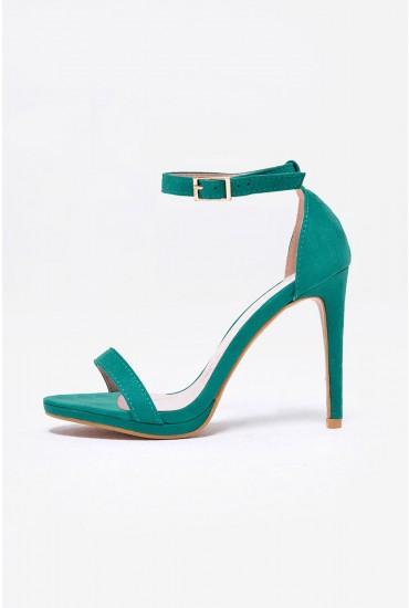 Bianca Strappy Heeled Sandals in Green