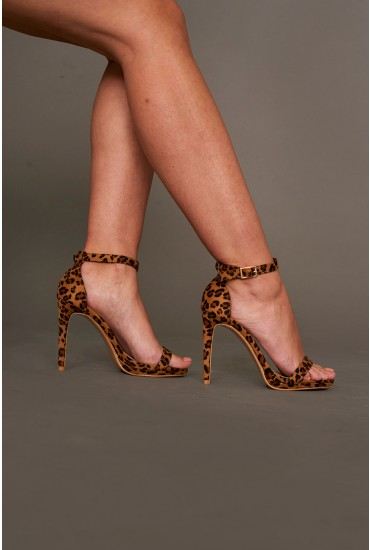 Bianca Strappy Heeled Sandals in Animal Print