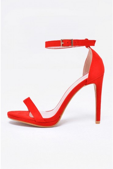 Bianca Strappy Heeled Sandals in Red
