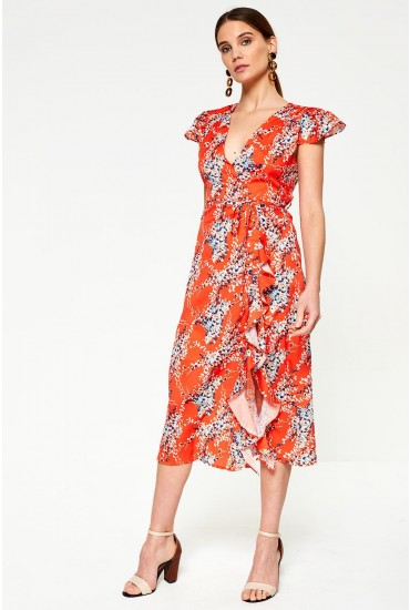 Belle Floral Print V Neck Dress in Orange