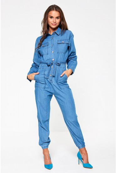 Arbaiya Belted Jumpsuit in Medium Blue Denim