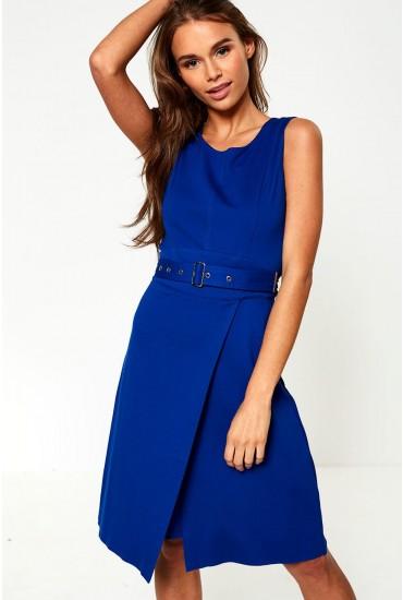 Qadira Belted Midi Dress in Cobalt Blue