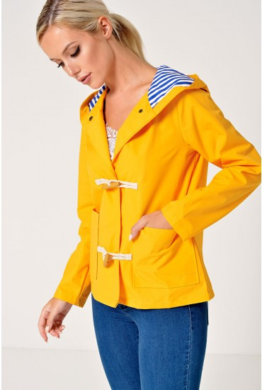 Bettina Toggle Hooded Jacket in Yellow