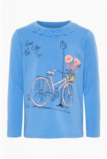 Bicycle Girls Top in Blue