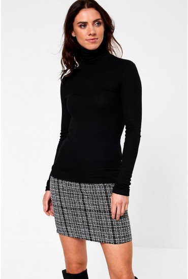 Birdie Roll Neck Top in Black