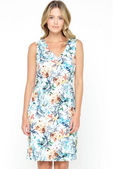 Kenya Tailored Print Dress in Aqua