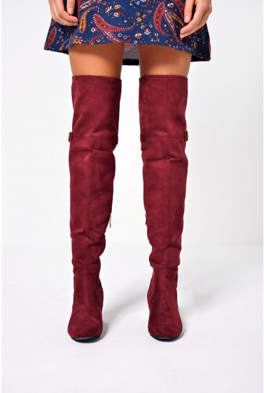 Grace Over The Knee Boots in Wine