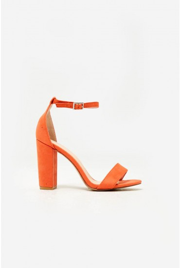 Elena Block Heel Sandals in Orange Suede