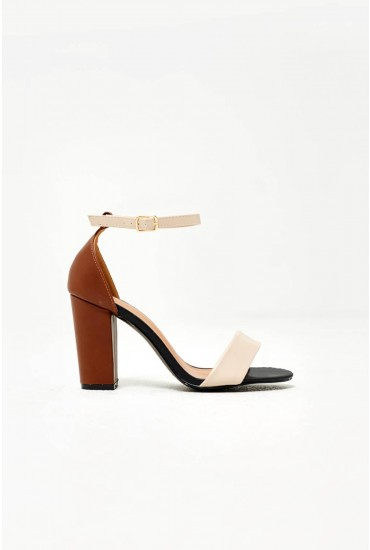 Orin Block Heeled Sandals in Brown