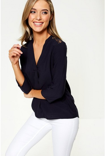 Boca Blouse with Lace Insert in Navy