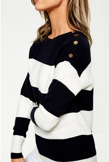 Sethe Boat Neck Jumper with Button Detail in Stripe