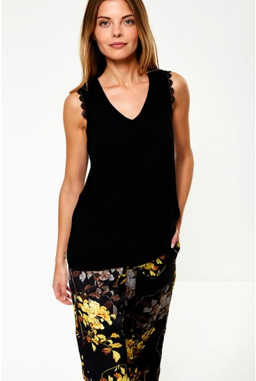 Lacey Boca Sleeveless Top in Black