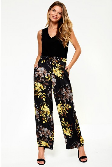 Eliana Wide Leg Trousers in Black Floral Print
