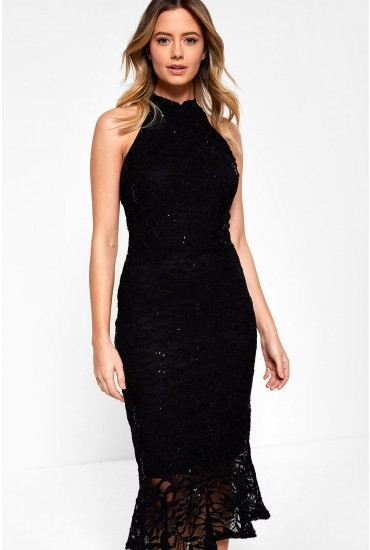Vicki Bodycon Dress With Sequin Detail in Black