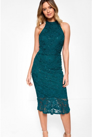 Vicki Bodycon Dress With Sequin Detail in Green