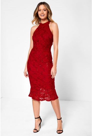 Vicki Bodycon Dress With Sequin Detail in Red