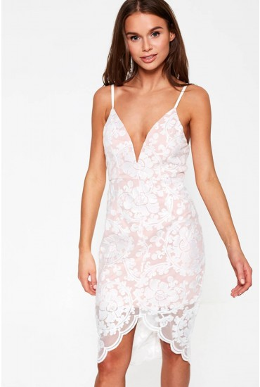 Amna Bodycon Sequin Detailed Dress in White