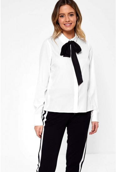 Viola Bow Neck Long Sleeve Shirt in White