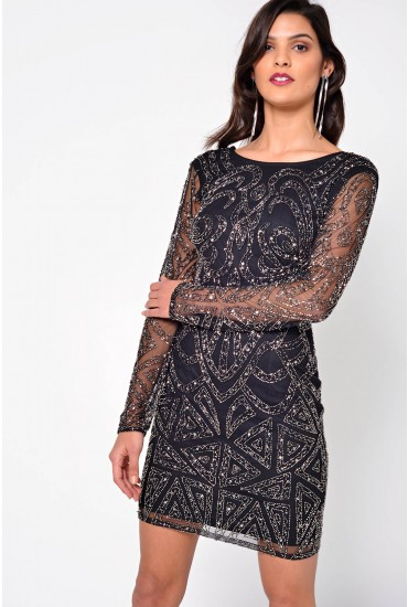 Brooklyn Hand Beaded Mini Dress in Black