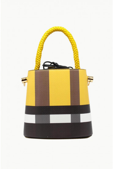 Milo Bucket Bag in Yellow Check Print