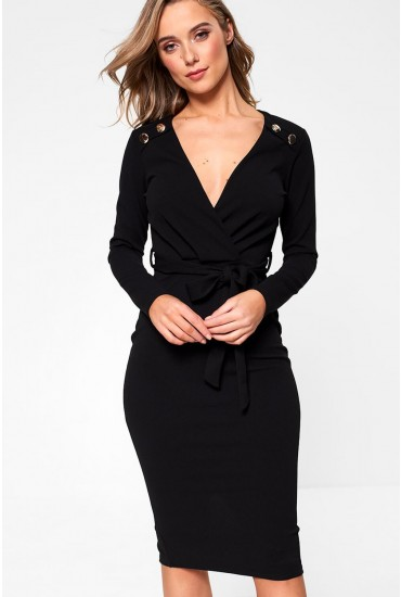 Lara Button Detail Fitted Dress in Black