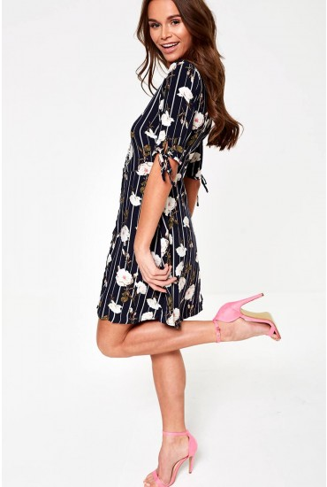 Simply Button Up Midi Dress in Navy Floral Print