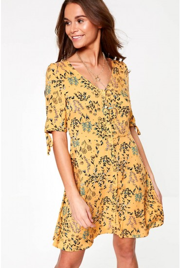 Simply Button Up Midi Dress in Orange Floral Print