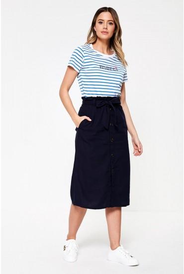 Sierra Button Up Skirt in Navy