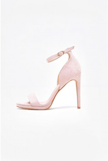 Nelly Ankle Strap Platform Sandals in Beige