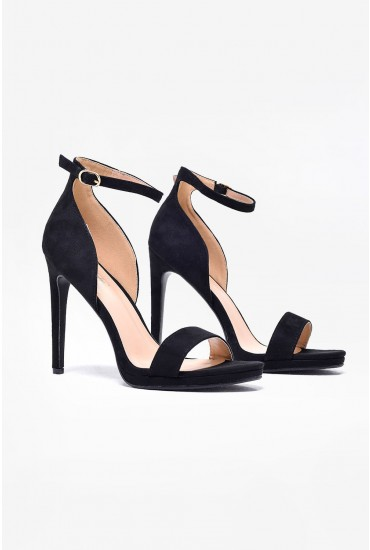 Nelly Ankle Strap Platform Sandals in Black
