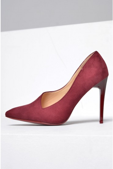 Ruby Court Shoes in Wine Suede