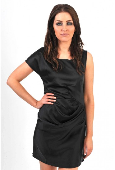 Jane Ruched Front Dress in Black