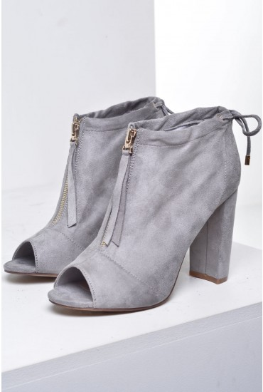 Tatem Open Toe Ankle Boots in Grey Suede