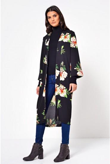 Carolyn Floral Kimono in Black
