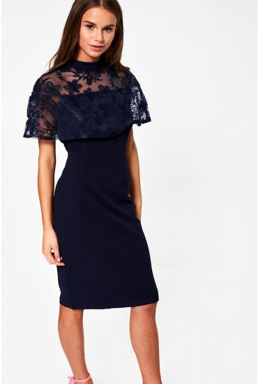 Callie Cape Tailored Dress in Navy