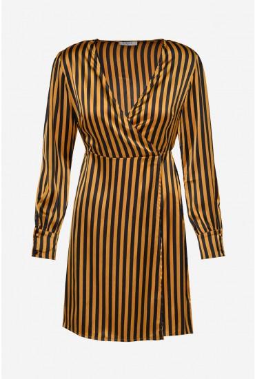 Cania Long Sleeve Short Dress in Black Stripe