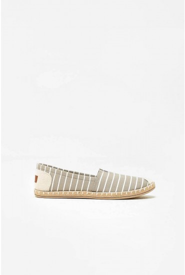 Sam Canvas Shoes in Grey Stripe