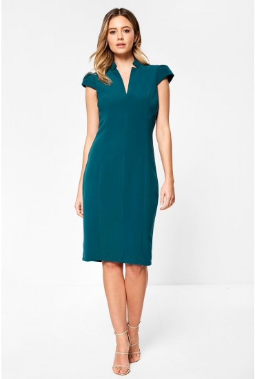 Zheyna Cap Sleeve Midi Dress in Pine