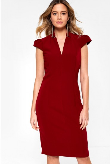 Zheyna Cap Sleeve Midi Dress in Burgundy