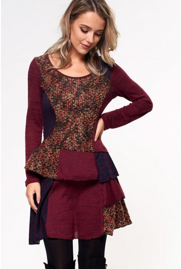 Carrie Patchwork Tunic Dress in Wine