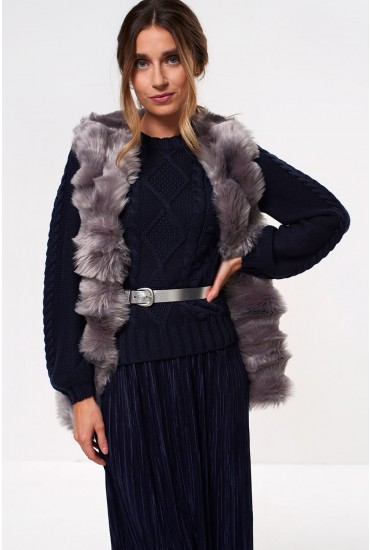Cassie Faux Fur Gilet in Grey
