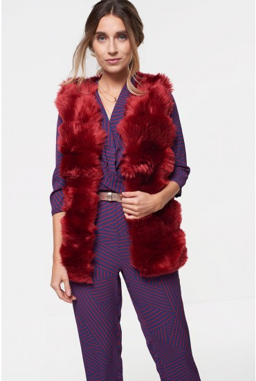 Cassie Faux Fur Gilet in Wine
