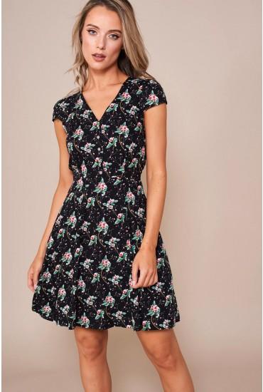 Cathleen Tea Dress in Black Floral Print