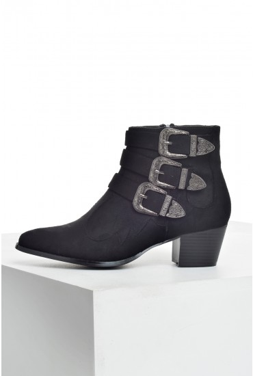 Cara Buckled Ankle Boots in Black